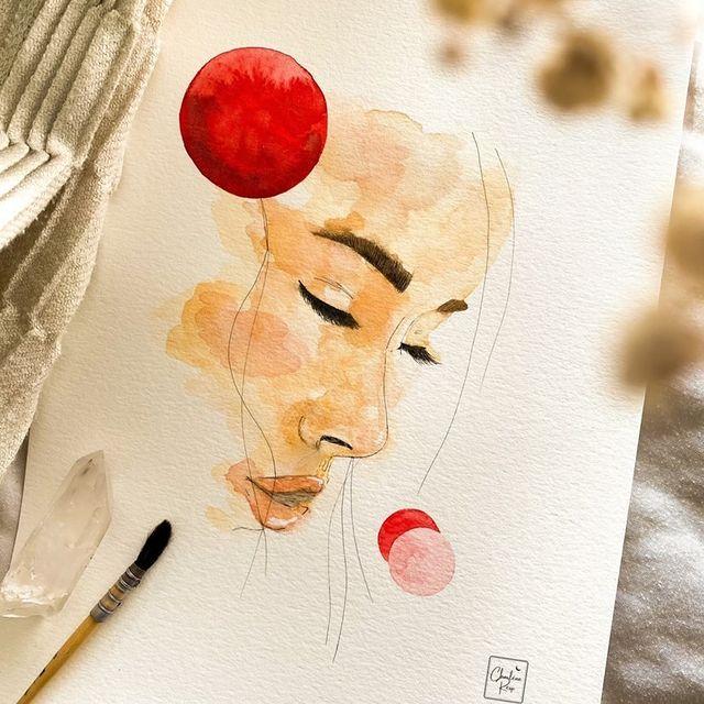 illustration aquarelle visage femme lecture d'âme Charlène Resp