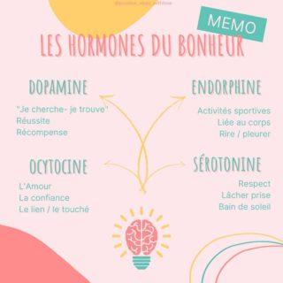 Ton MEMO spécial Hormones du Bonheur ! 🤩  Enregistre-le pour que chaque jour tu puisses choisir quelle hormone du bonheur tu vas stimuler ! 😁  L'idée avec les hormones du bonheur est de pouvoir les activiter en conscience et le plus souvent possible. Tu sais pourquoi? Pour être HAPPY tout simplement 😍  Il y tellement de façons de stimuler nos hormones au quotidien !  Tu peux tout à fait te créer des habitudes positives en partant de tes 4 hormones du bonheur. D'ailleurs peut-être que sans t'en rendre compte tu fais déjà des choses au quotidien qui stimule ces hormones du Bonheur. Essaye d'en prendre conscience, ce sera encore plus puissant ☀  👉 Que pourrais-tu faire aujourd'hui pour stimuler tes hormones du bonheur ?   Perso ce sera direction la piscine extérieure, pour bouger mon corps, prendre le soleil (si il veut bien rester!) ! Auto-massage du visage et bon repas pour me récompenser de cette belle journée 😎  Je suis Léa, coach Happy, spécialisée dans l'état d'esprit positif et l'épanouissement personnel. Je t'accompagne à prendre conscience que tout est en toi, que toutes les réponses sont en toi et qu'il suffit de te découvrir profondément pour enfin devenir 100% actrice de ta vie ! Créatrice de ton bonheur !   #hormonesdubonheur #ocytocine #serotonine #dopamine #endorphine #toutestpossible #changerdevie #oser #nouveaudepart #habitudespositives #routinepositive #oseretresoi #valorisation #etresoi #vivresavie #choixdevie #epanouissementpersonnel #devpersonnel #travailsursoi #connaissancedesoi #ouverturedesprit #coachingpersonnel #devenirsoi #etrepositif  #choisirsavie #sevaloriser #reconnexionasoi  #etremieux #bienetremental #realisationdesoi